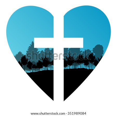 Cross heart tree landscape background vector abstract Christianity concept - stock vector