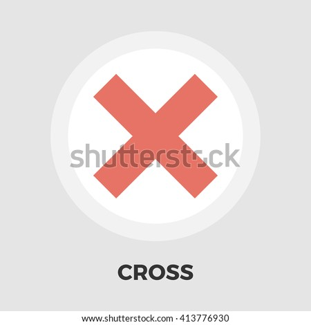 Cross icon vector. Flat icon isolated on the white background. Editable EPS file. Vector illustration.