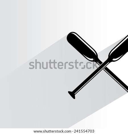 cross oar on white background, flat and shadow theme