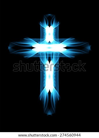cross of blue light, great vector illustration. dark background - stock vector