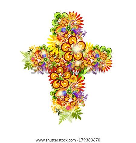 Cross of flowers. Easter. Vector - stock vector