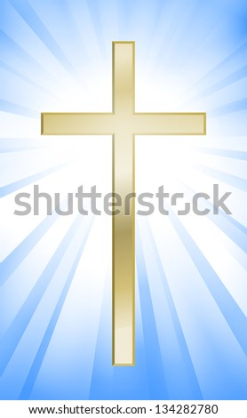 Cross on blue sunburst background - stock vector