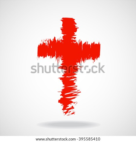 Cross painted brushes. Christian Symbol. Vector illustration. Eps 10 - stock vector
