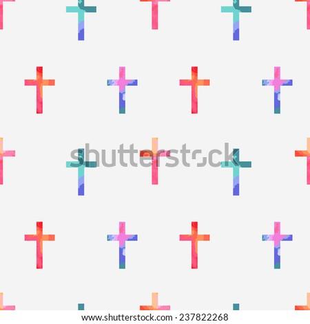 Cross seamless colorfull pattern, vector illusration eps 10 - stock vector