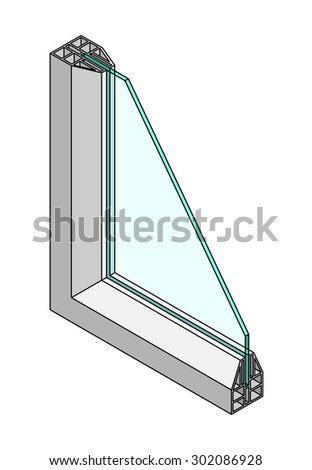 Cross-section diagram of a single glazed window.  - stock vector