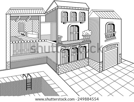 Cross section of a 2 storey house. Inside and outside elements. - stock vector