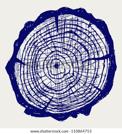 Cross section of tree stump. Doodle style