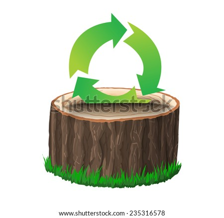Cross section of tree stump with recycle symbol, concept vector illustration, isolated on black background - stock vector
