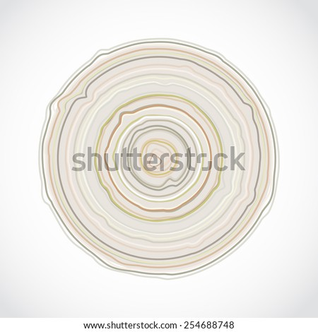 Cross section of tree trunk isolated on white background. Wood stump rings texture, wooden background. Vector  - stock vector