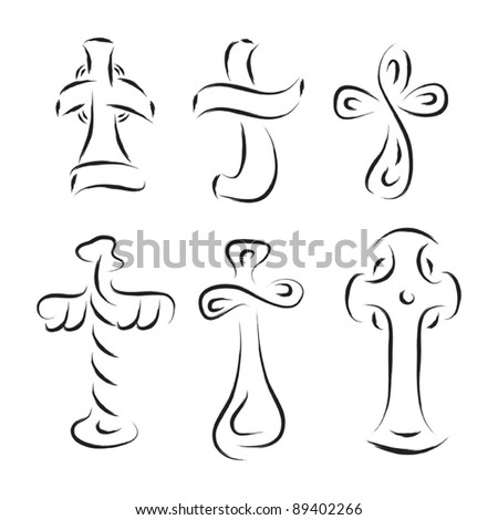 cross set abstract illustration - stock vector