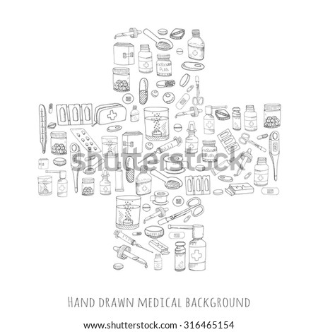 Cross shaped background made of healthcare and medicine hand drawn icons, doodle medical elements, vector background with wellness freehand drawings. Vector sketch illustration - stock vector