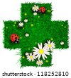 Cross shaped patch of grass with flowers and ladybugs - stock vector