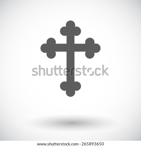 Cross. Single flat icon on white background. Vector illustration. - stock vector
