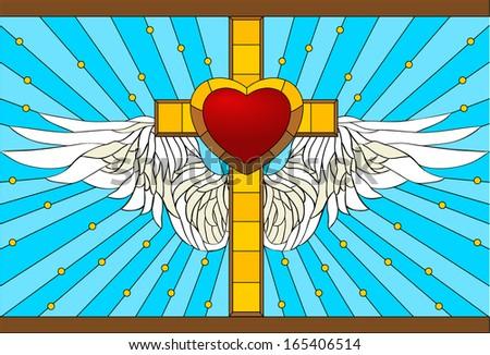 cross / Stained-glass window - stock vector
