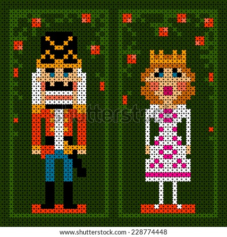 cross-stitch christmas card with nutcracker and princess - stock vector