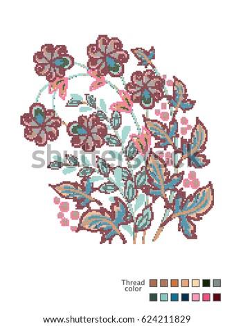 cross stitch flowers readymade template crossのベクター画像素材