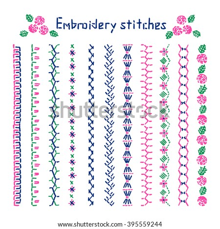 Cross stitch pattern for clothing, elements of folk embroidery, cross stitch vector ornament, set of art brushes with embroidery cross. Vector elements of folk embroidery - stock vector