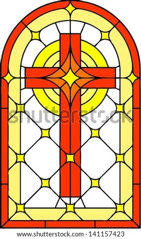 Cross Vector Illustration In Stained Glass Style