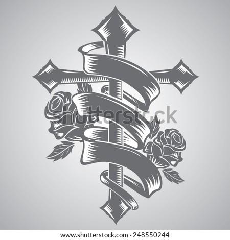 cross with ribbon tattoo - stock vector