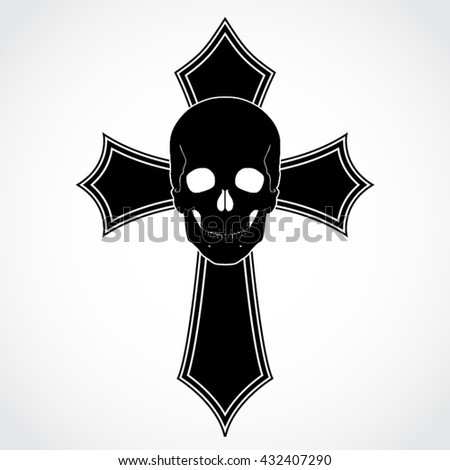 cross with scull / vector illustration - stock vector