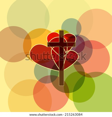 Cross with three hearts - stock vector