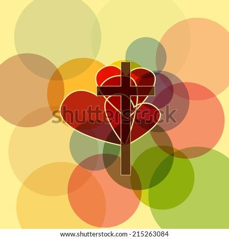 Cross with three hearts - stock vector