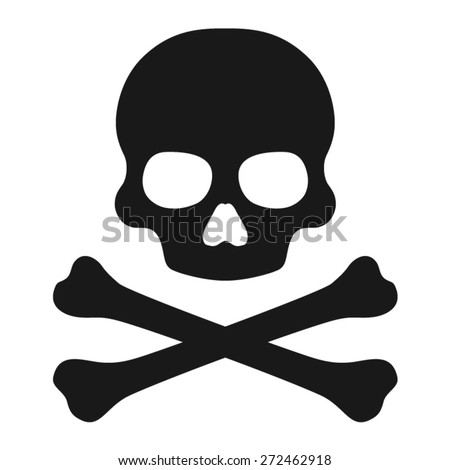 Crossbones and skull death flat icon - stock vector