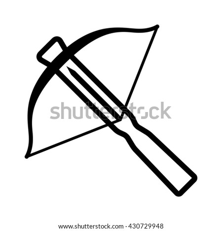 Crossbow projectile weapon line art icon for games and websites
