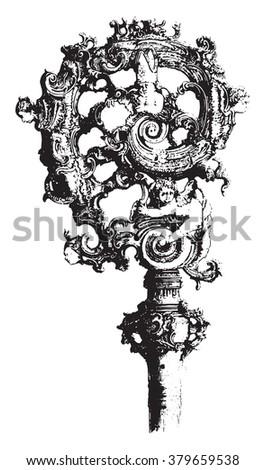 Crosse ivory eighteenth century German work, vintage engraved illustration. Magasin Pittoresque 1878. - stock vector