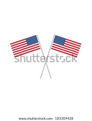Crossed American Flags - Vector - stock vector