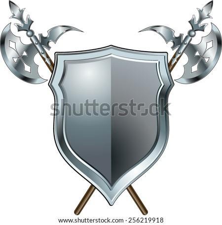 crossed antique halberd and shield - stock vector
