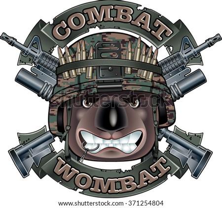 crossed assault rifles and wombat wearing military helmet - stock vector