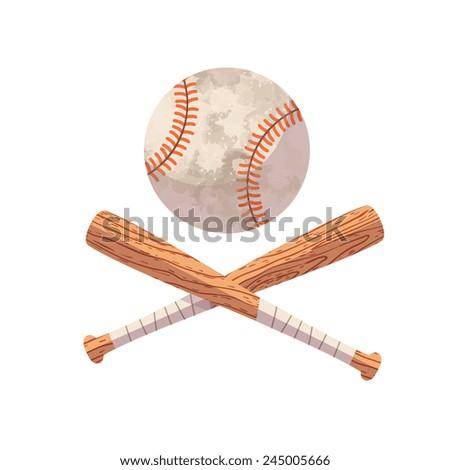 Crossed Baseball Bats And Ball Cartoon Flat Modern Style Vector Art Illustration