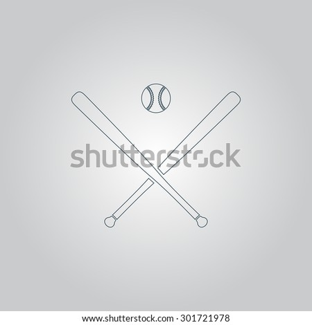 Crossed baseball bats and ball. Flat web icon or sign isolated on grey background. Collection modern trend concept design style vector illustration symbol - stock vector
