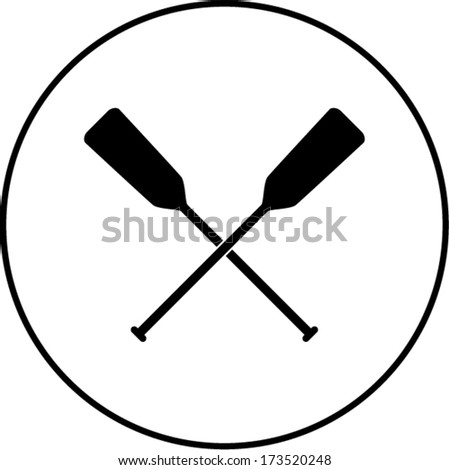 crossed canoe paddles symbol - stock vector