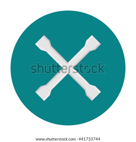 Crossed car wrench flat icon - stock vector