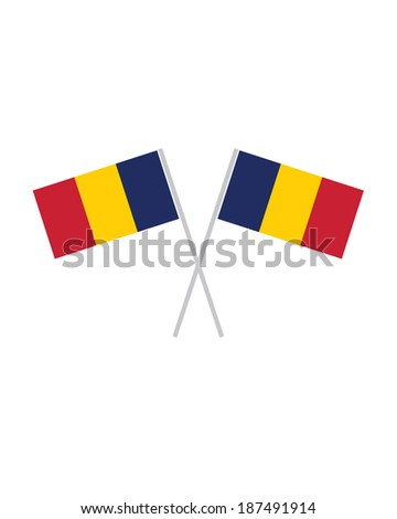 Crossed Chad Flags - Vector - stock vector