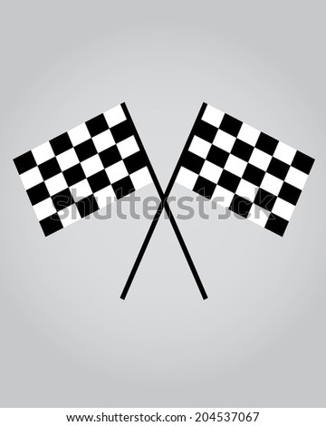 Crossed Checkered Auto Racing Flags - Vector