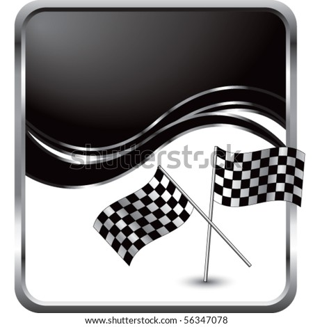 crossed checkered flags black wave backdrop - stock vector