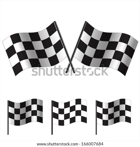 crossed Checkered Flags (racing flags). Vector illustration. - stock vector