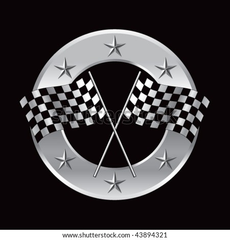 crossed checkered flags round silver star ring - stock vector
