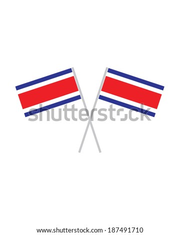Crossed Costa Rica Flags - Vector - stock vector