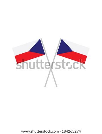 Crossed Czech Flags - Vector - stock vector
