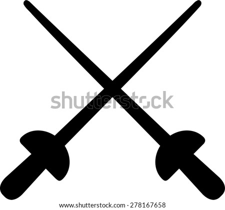 Crossed fencing weapons - stock vector