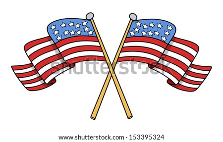 Crossed Flags of USA Vector - stock vector