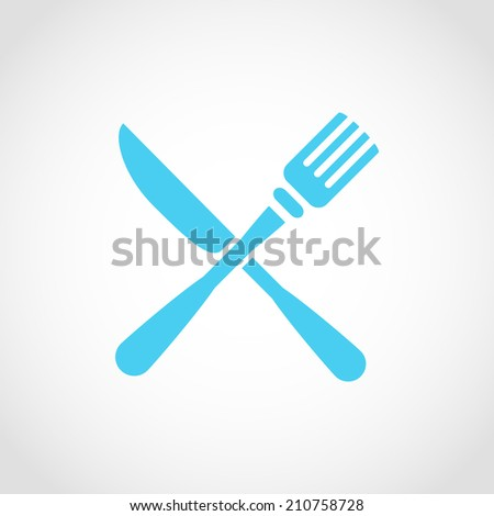 Crossed fork and knife Icon Isolated on White Background - stock vector