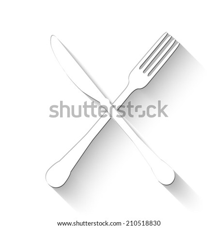 crossed fork and knife icon - white vector illustration with shadow
