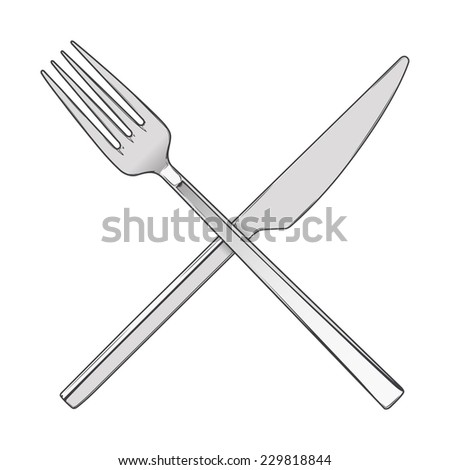 Crossed Fork and Knife isolated on a white background. Cutlery concept. Colored hand drawn line art. Retro design. Vector illustration. - stock vector