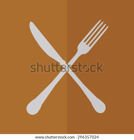 crossed fork and knife vector icon. Flat design - stock vector