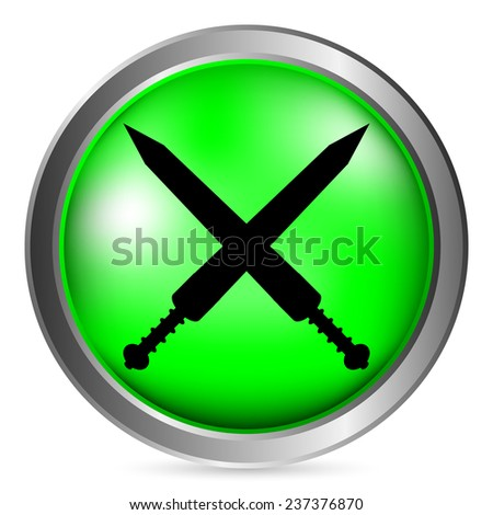 Crossed gladius swords button on white background. Vector illustration. - stock vector